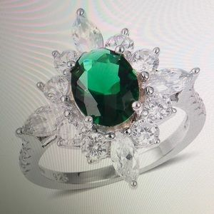 Jewelry - GREEN AND WHITE CZ 925 RING